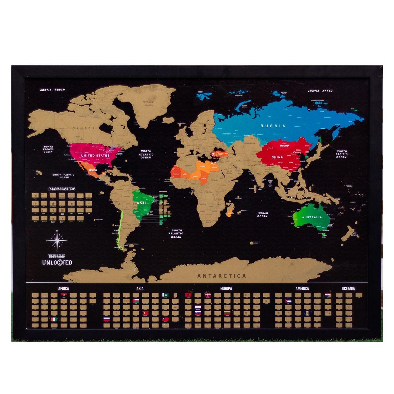 Mapa Mundi de Raspar Unlocked Médio 82x60CM