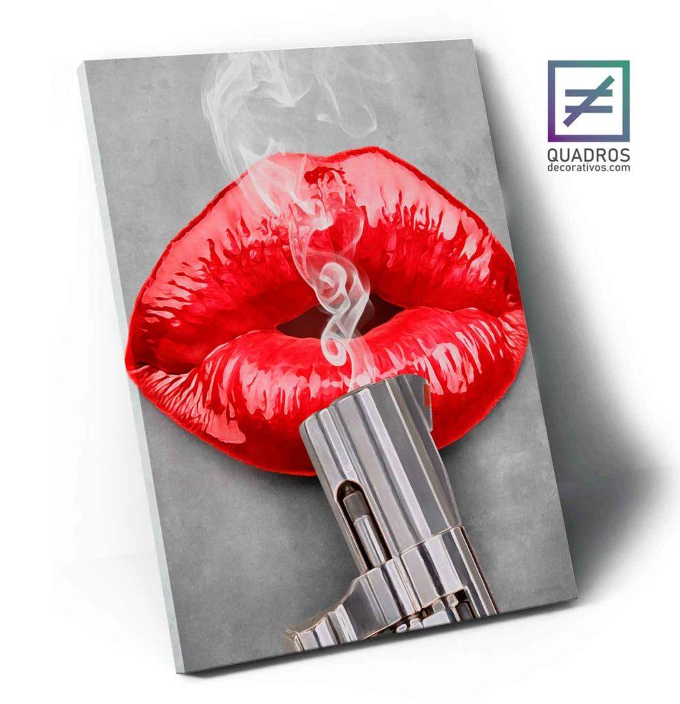 Quadros para quarto feminino lábios mortais
