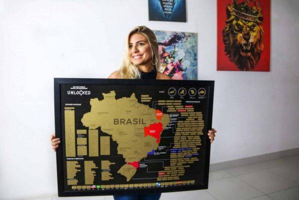 Combo de Mapa do Brasil em moldura preta