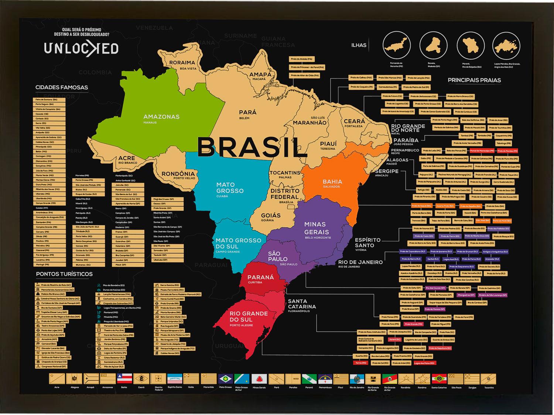 Mapa do Brasil de Raspar Unlocked Médio 82x60CM