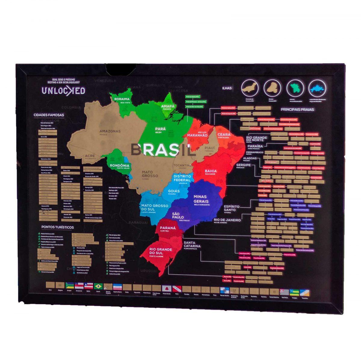 Quadros Decorativos Mapa do Brasil de Raspar
