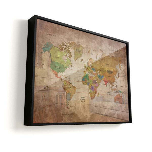Quadro Mapa Mundi Vintage moldura mais vidro