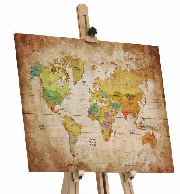 Quadro Mapa Mundi Vintage tela de pintura