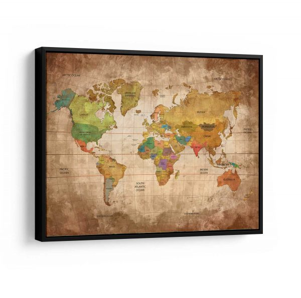 Quadro Mapa Mundi Vintage moldura