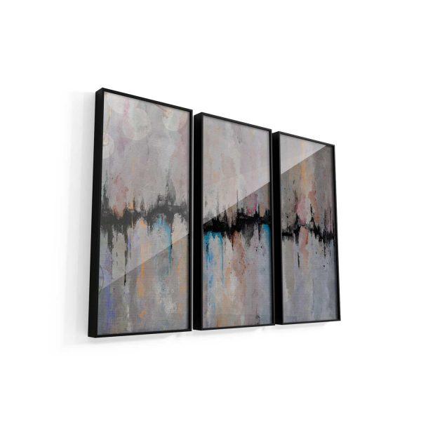 Quadro Abstrato Fenda 3 peças vidro