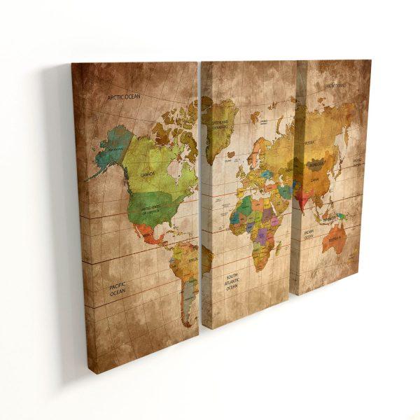 Quadro Mapa Mundi Vintage 3 peças sem moldura