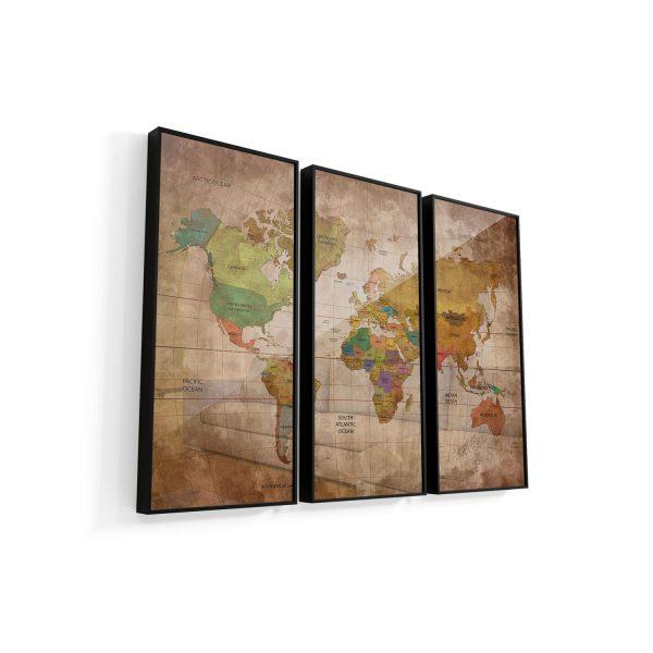 Quadro Mapa Mundi Vintage 3 peças moldura mais vidro