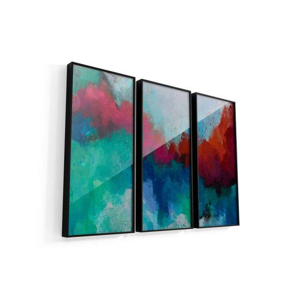 Quadro Abstrato Formas Coloridas 3 peças de vidro