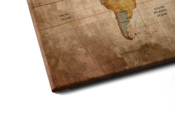 Quadro Mapa Mundi Vintage detalhe