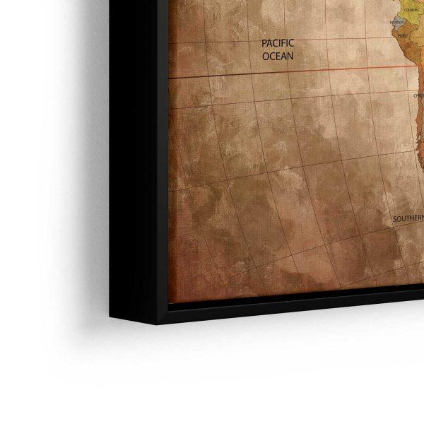 Quadro Mapa Mundi Vintage detalhe moldura