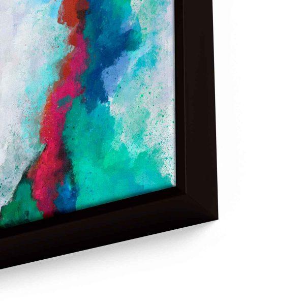 Quadro Abstrato Formas Coloridas em moldura com detalhe a direita