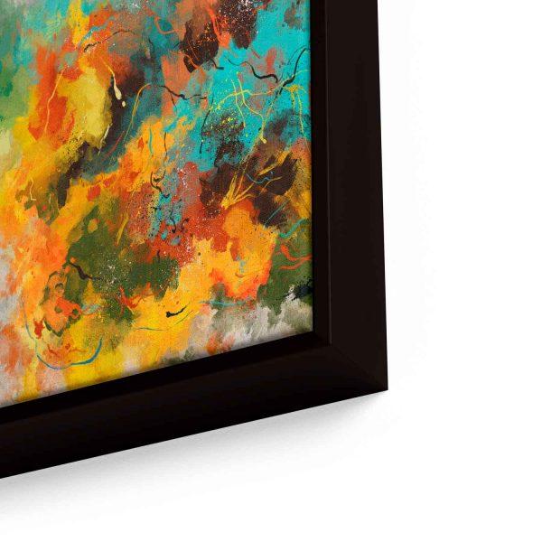 Quadro Abstrato Pinceladas em moldura com detalhe a direita