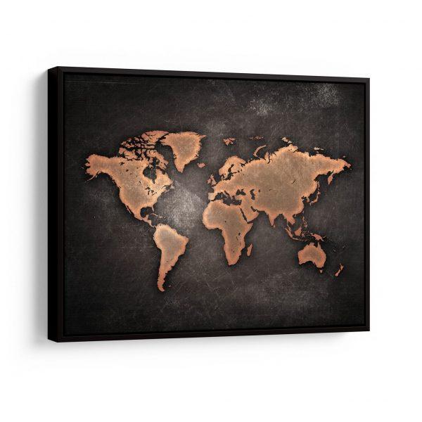 "Conjunto de Quadros ""Mapa Mundi Negro"" – em filete"
