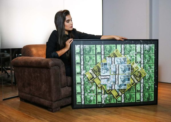 Quadro decorativo Brasil Money apresentação em filete com detalhe