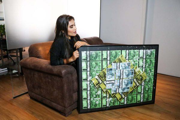 Quadro decorativo Brasil Money apresentação em filete