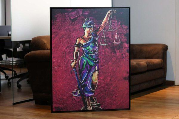 quadros para escritorio de advocacia Quadro Themis A Deusa da Justiça em filete com detalhe
