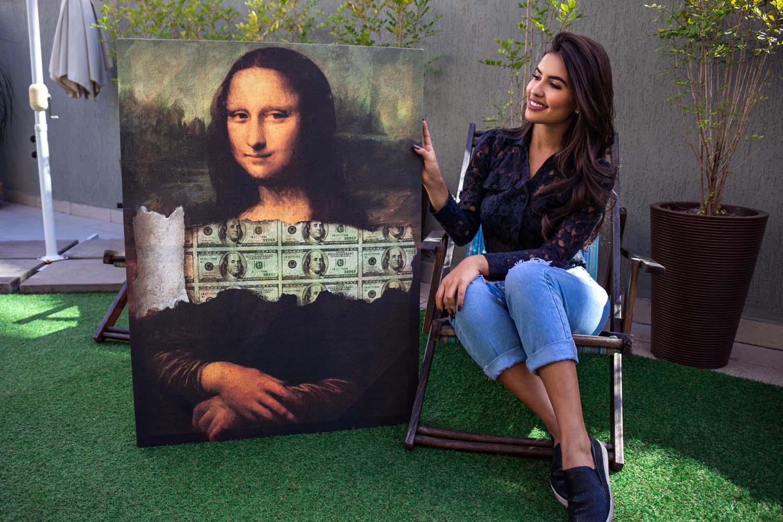 Quadro decorativo A Incrível Money Lisa apresentação em tela