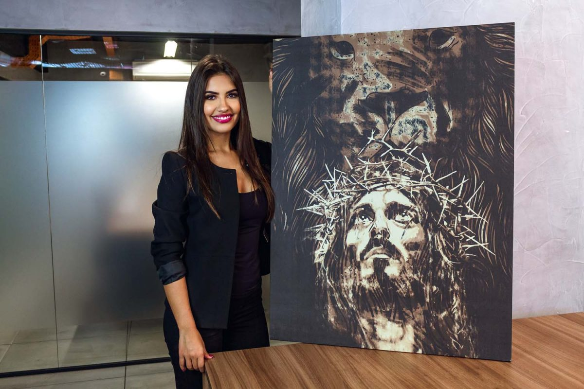 Quadro O Leão da Tribo de Judá Jesus em tela com detalhe