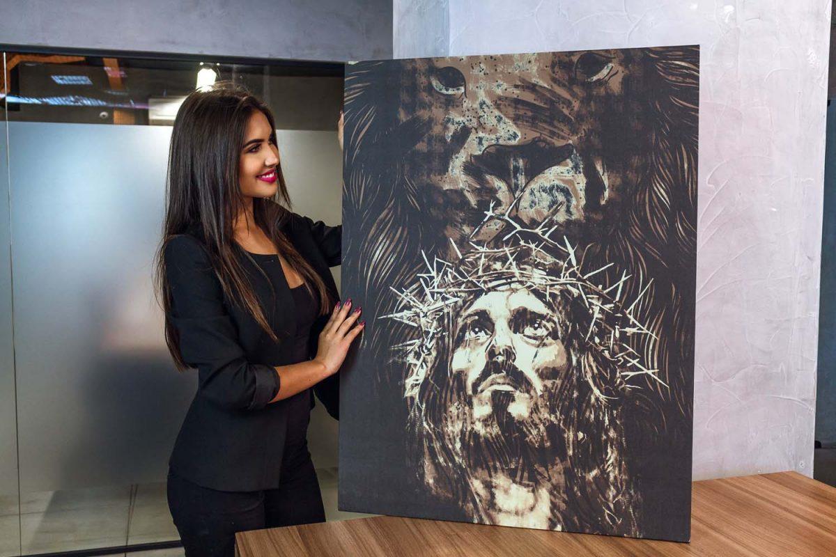 Quadro decorativo O Leão da Tribo de Judá Jesus em tela