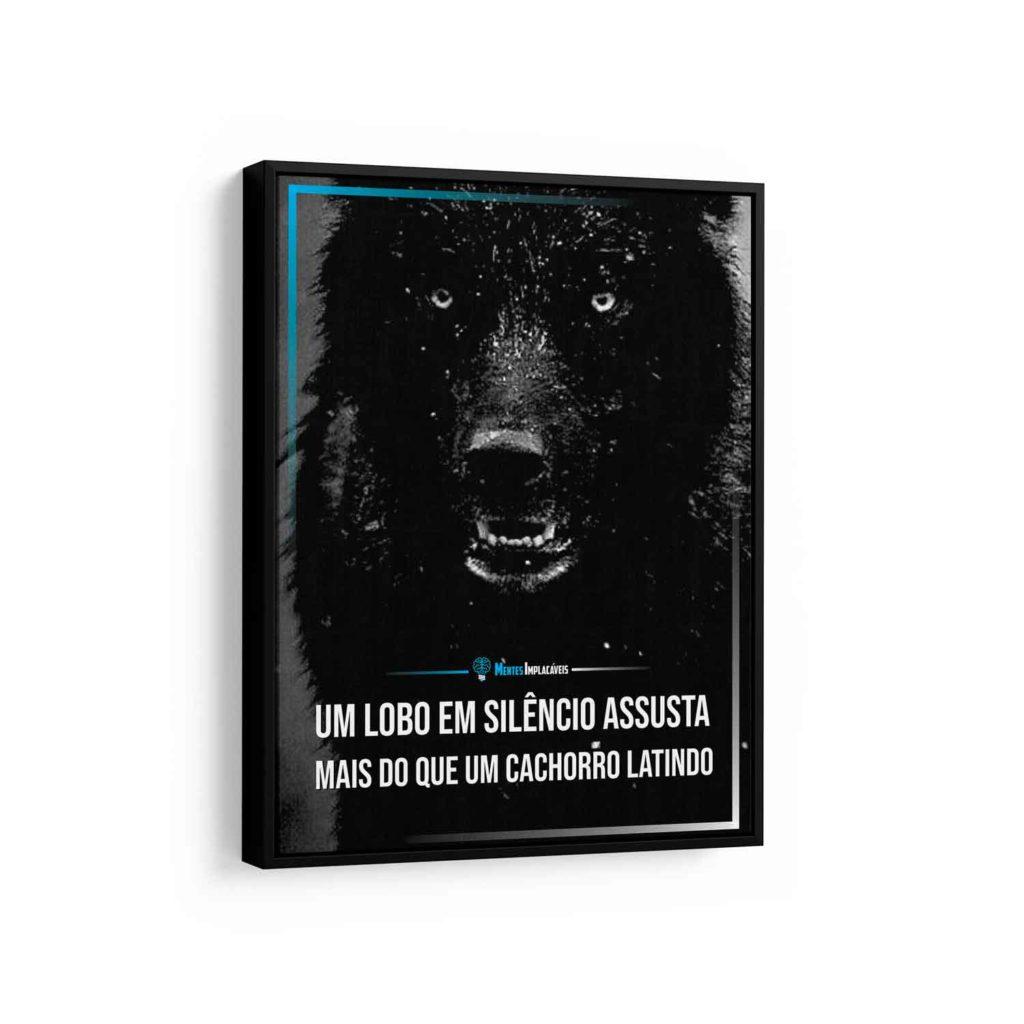 Quadros decorativos com frases - Mentes Implacáveis – Lobo em Silencio em filete