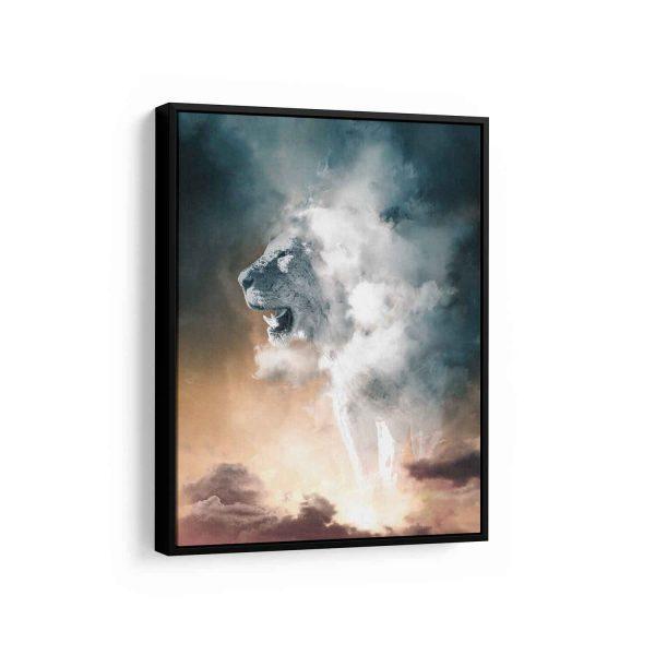 Quadro Nebuloso Leão Branco em filete