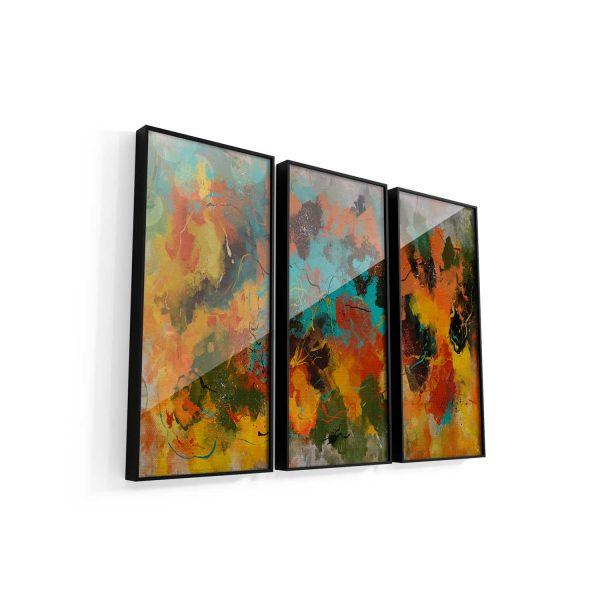 Quadro Abstrato Corado 3 peças vidro