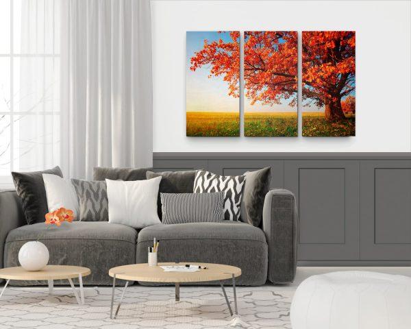 """Conjunto de Quadros """"Árvore do Outono"""" – 3 Peças em tela com detalhe"""