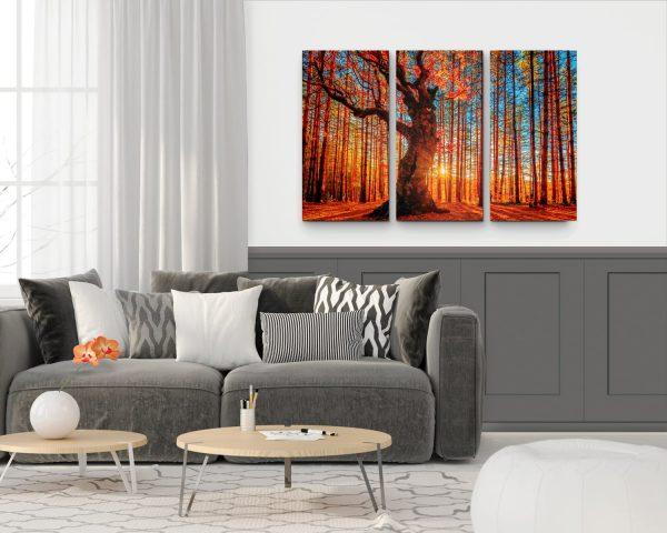 """Conjunto de Quadros """"Outono Vermelho"""" – 3 Peças em tela com detalhe na sala"""