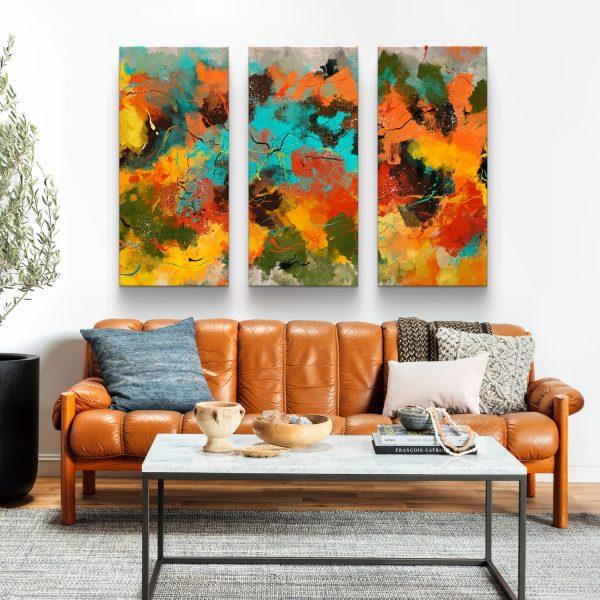 Quadro Abstrato Corado 3 peças em tela com detalhe