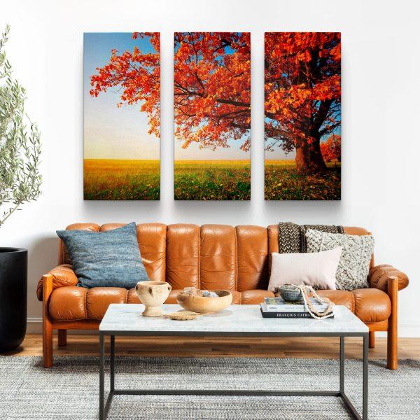 """Quadros Decorativos Conjunto de Quadros """"Árvore do Outono"""" – 3 Peças em tela"""