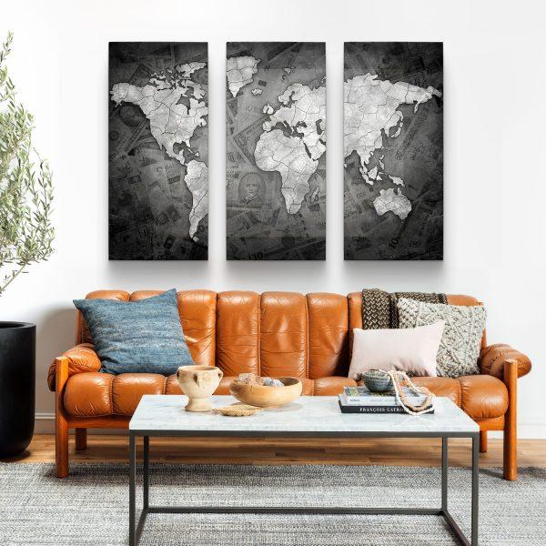 """Conjunto de Quadros """"Mapa Mundi Money"""" – 3 peças em tela"""