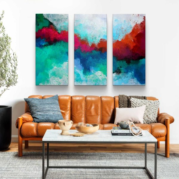 Quadro Abstrato Formas Coloridas tres peças