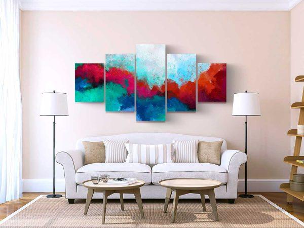 Quadro Abstrato Formas Coloridas 5 peças