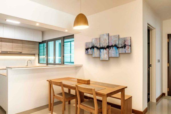 Quadro Abstrato Fenda 5 peças em tela com detalhe na sala