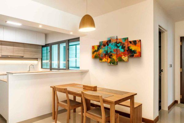 Quadro Abstrato Corado 5 peças em tela com detalhe na parede
