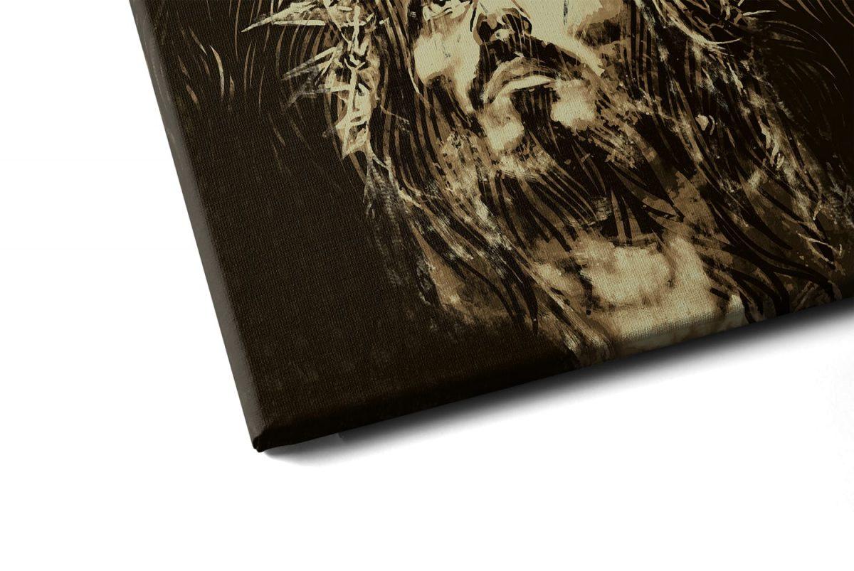 Quadro O Leão da Tribo de Judá – Jesus em tela em detalhe a esquerda