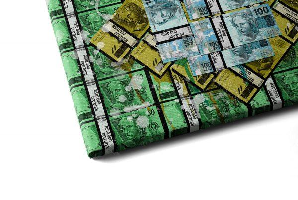 Quadro Brasil Money em tela com detalhe a esquerda