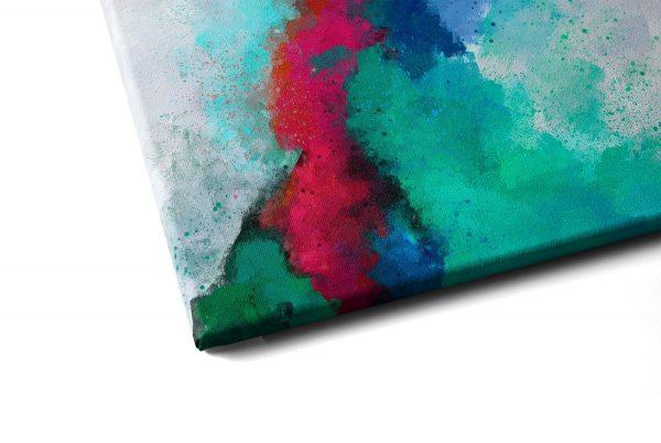 Quadro Abstrato Formas Coloridas em tela com detalhe a esquerda