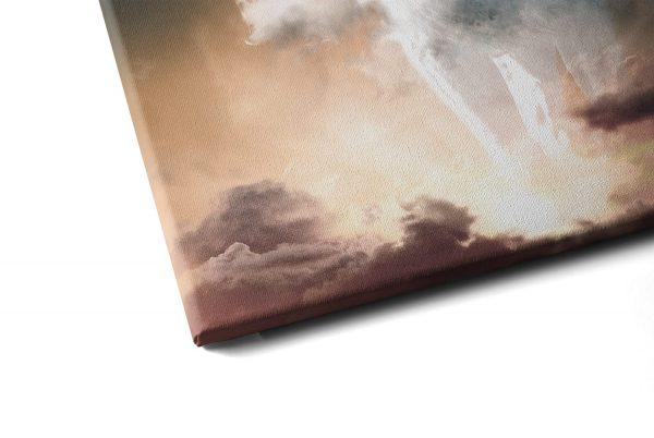 Quadro Nebuloso Leão Branco em tela com detalhe a esquerda