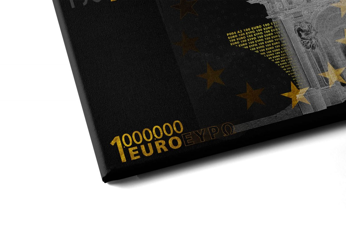 Quadro 1 Milhão de Euros em tela com detalhe a esquerda