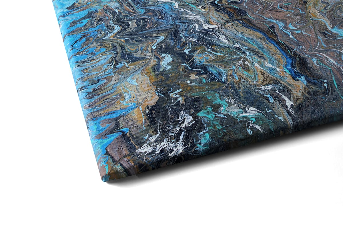Quadro Ondas de águas nórdicas em tela com detalhe esquerda