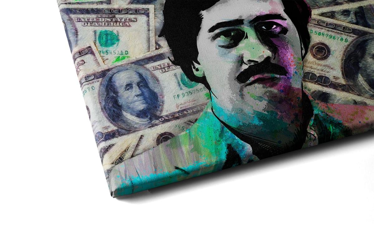 Quadro Pablo Escobar Especial Edition em tela com detalhe a esquerda