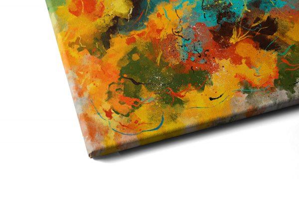 Quadro Abstrato Corado em tela com detalhe a esquerda