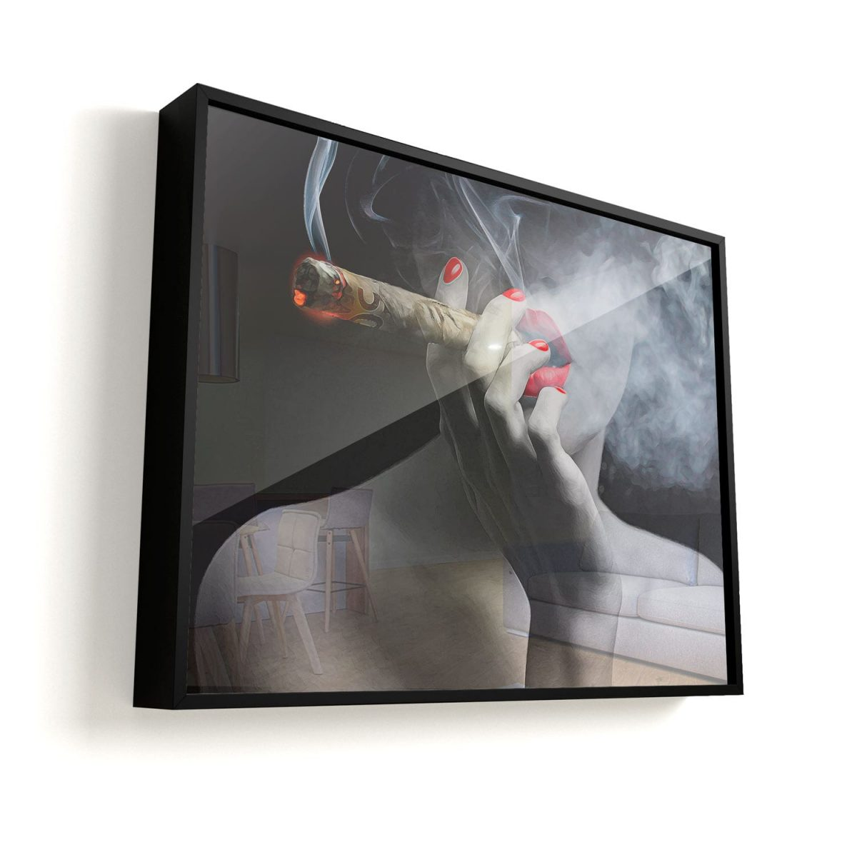 Quadro 50 Notas de Fumaça ao Som de Marilyn Monroe vidro