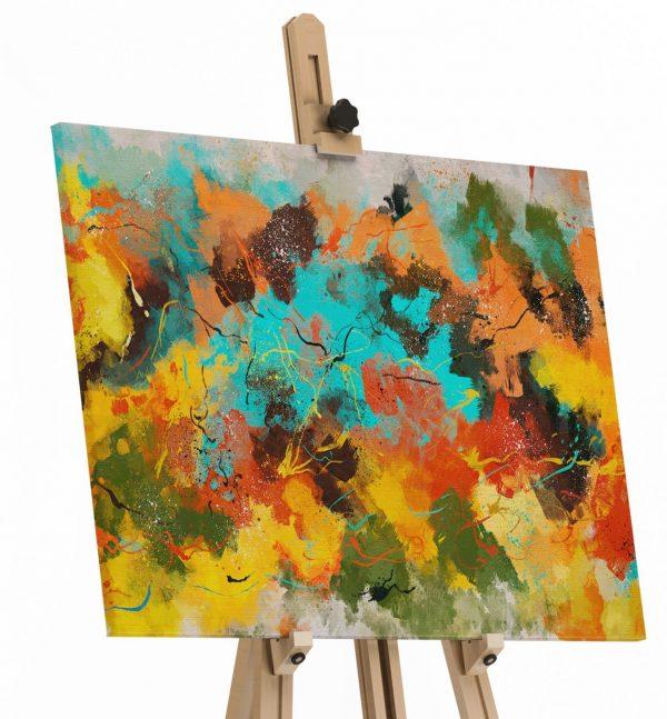 Quadros Decorativos Quadro Abstrato Corado em tela