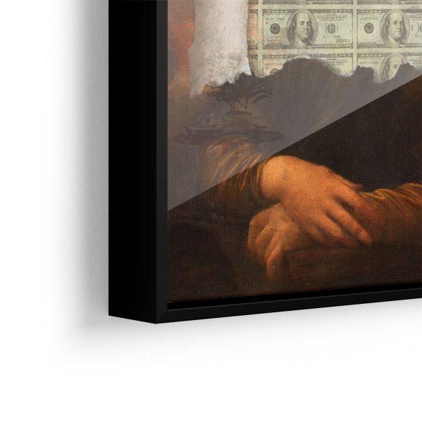 Quadro A Incrível Money Lisa aproximado vidro
