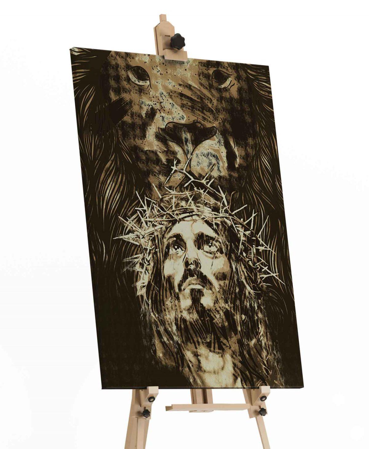 Quadro O Leão da Tribo de Judá – Jesus em tela em detalhe