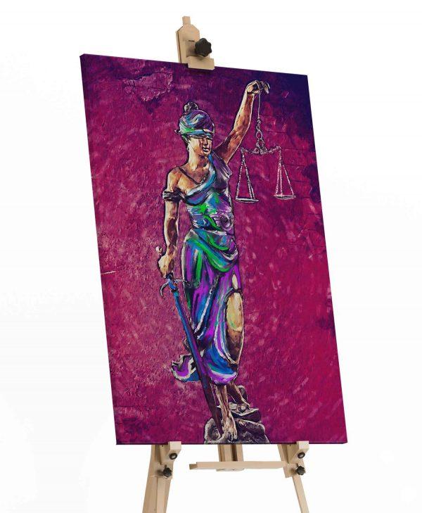 quadros para escritorio de advocacia Quadro Themis A Deusa da Justiça em tela com detalhe