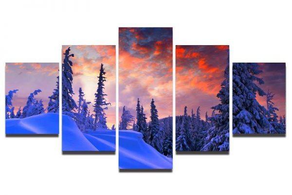 """Conjunto de Quadros """"Montanha com Neve"""" – 5 peças em tela"""