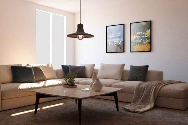 Inspire Transpire Realize em moldura com detalhe na sala quadro em cores